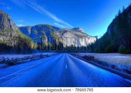 Icy Road Yosemite Valley