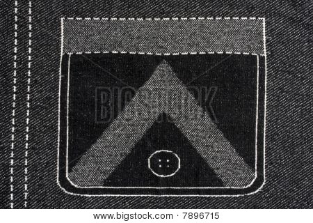 Denim Fabric With  Pocket Pattern Background