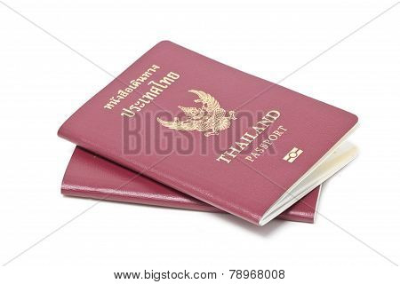 Thai Electronic Passports (issued By A Government In Thailand), Isolated On White.