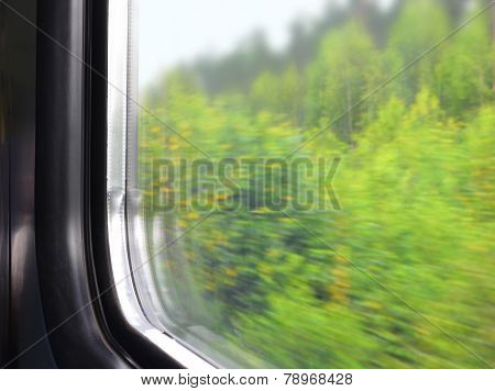 Part Of A Window Of A Moving Electric Train