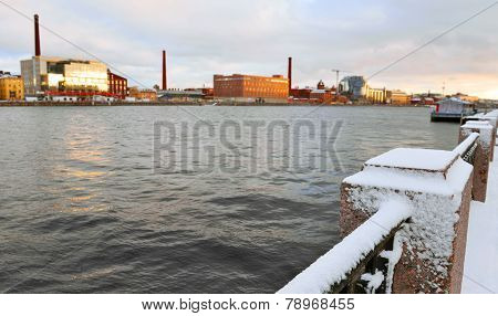 Embankment Of River Neva In The Winter