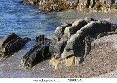 Ancient Rocks By The Sea