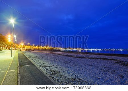 Alghero Shoreline By Night