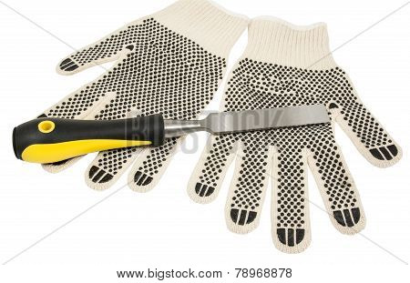 Dirty Leather Gloves And Chisel