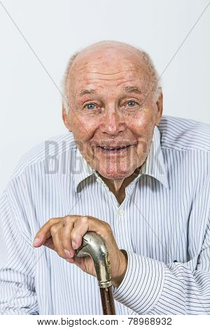 Happy Happy Elderly Man Enjoys Life