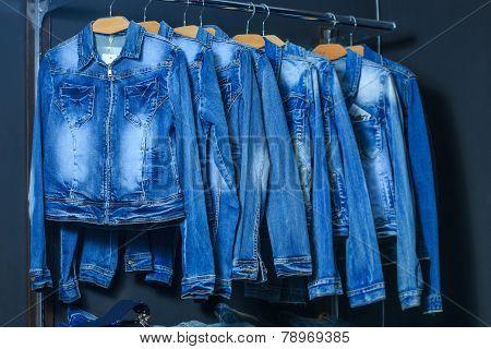 fashion jeans jacket on hangers