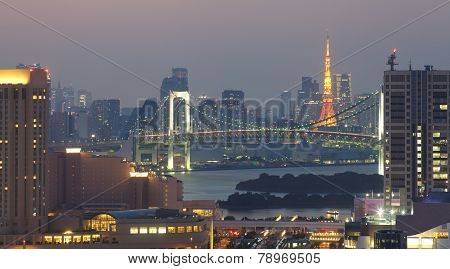 View of Tokyo bay area with rainbow bridge and Tokyo Tower