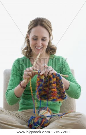 Woman Knitting with Yarn - Isolated
