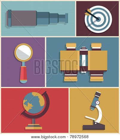 Vector Set Of Equipments For Search. Flat Style Design