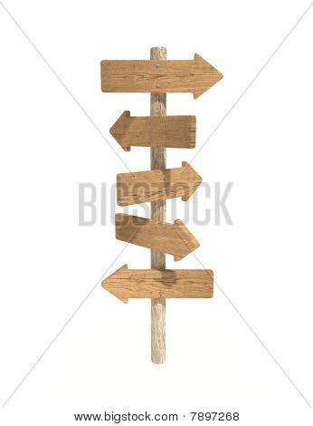Old Wood Directional Sign Post