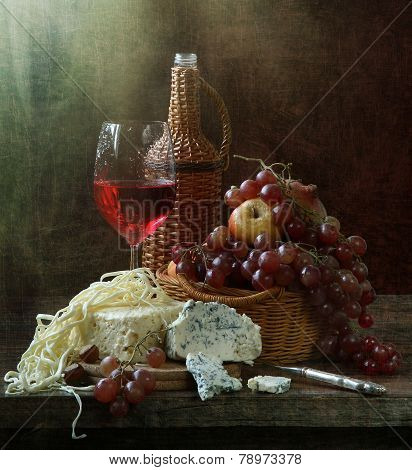 Still-life With Red Wine And Cheese And Fruit