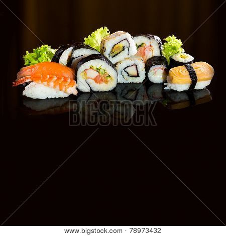 Sushi Collection, Isolated On Black Background.