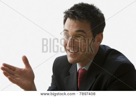 Businessman Having a Conversation - Isolated