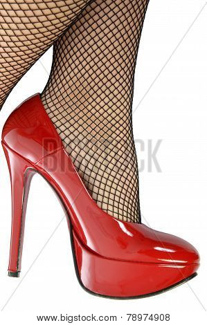 Red Shoes And Fishnet Stockings