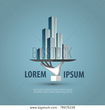 Business. The hand with the tray. Logo, icon, symbol, emblem, template
