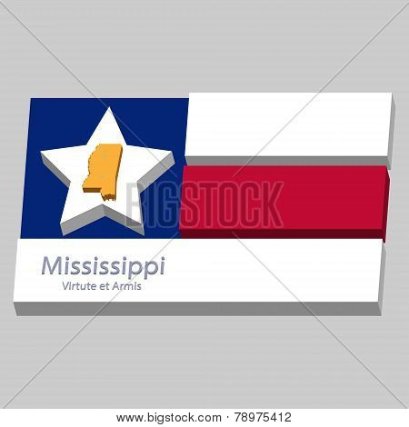 The Outline Of The State Of Mississippi Is Depicted On The Background Of The Stars Of The Flag Of Th