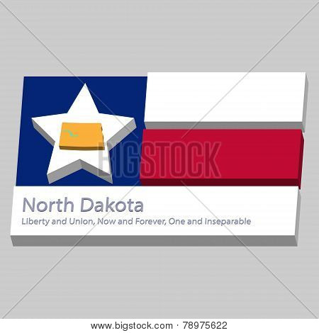 The Outline Of The State Of North Dakota Is Depicted On The Background Of The Stars Of The Flag Of T