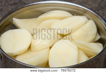 Raw potatoes in a pan