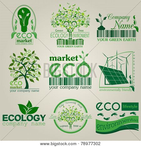 Set Of Ecology, Environment And Recycling Logos. Vector Logo Templates