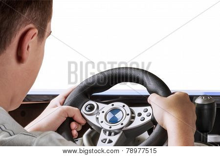 Gamer Playing In The Race Behind The Wheel