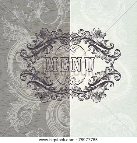 Menu Design In Antique Style With Frame