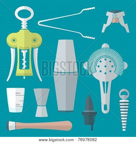 flat style barman instruments set