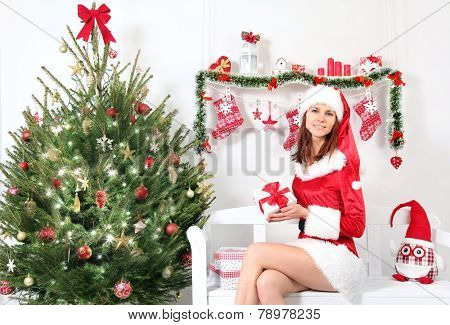pretty Mrs. Santa with christmas gift