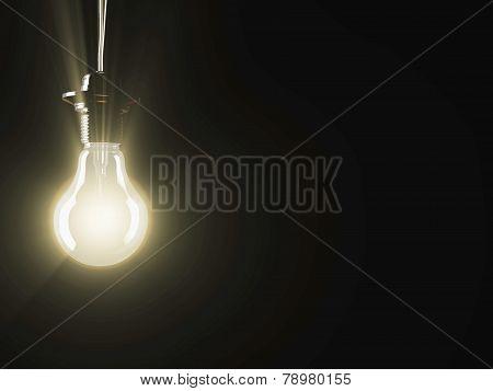 illuminated fluorescent light bulb