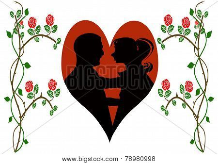 Silhouette Of Young Couple Within Heart