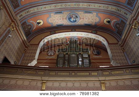 TRAVNIK, BOSNIA AND HERZEGOVINA - JUNE 11: The organ in the choir of the Church of St. Aloysius in Travnik, Bosnia and Herzegovina on June 11, 2014.