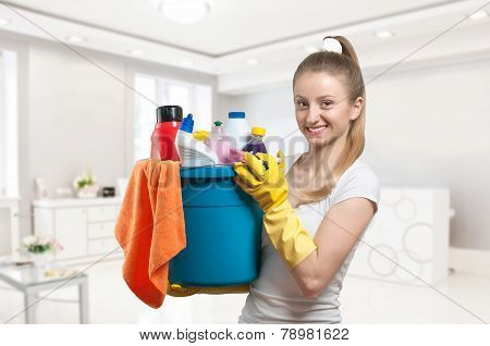 Cleaning service, woman with detergent  Stock Photo: