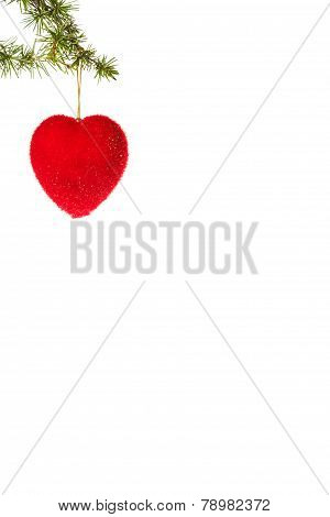Decoration With Green Pine Or Fir And Red Heart Ornament