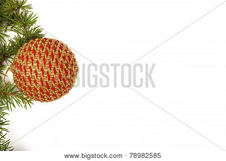 Christmas Decoration With Green Pine Or Fir And Gold Round Ornamen