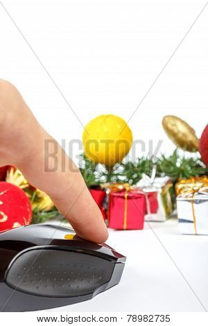 Computer Mouse With Gift Boxes And Finery