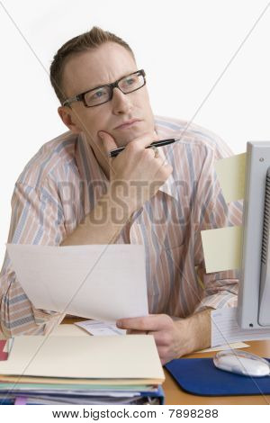 Contemplative Man Working from Home - Isolated