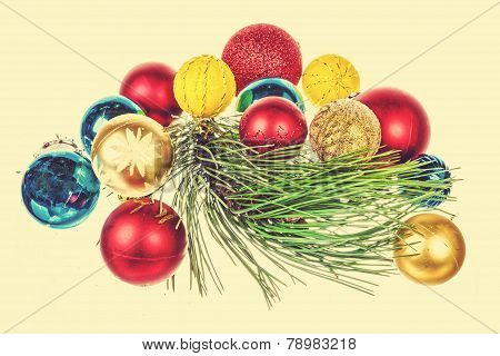 Holiday Decorations Isolated On Yellow Background