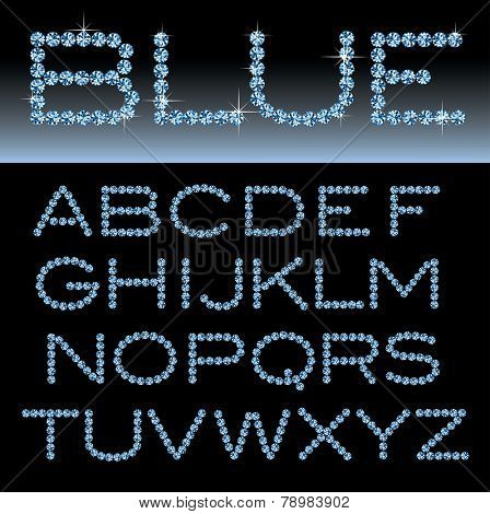 vector alphabet with blue rocks
