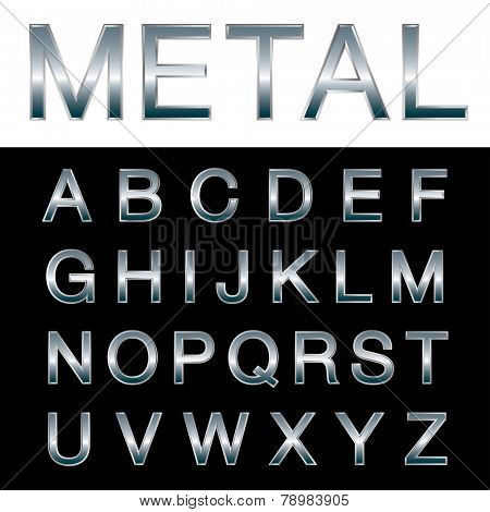 vector metal emboss alphabet