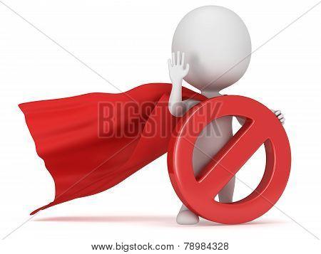 3D Man - Brave Superhero With Forbidden Sign