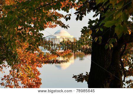 Washington DC in Autumn - Jefferson Memorial as seen from Tidal Basin