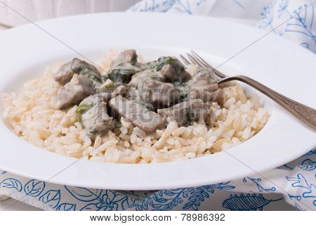 French Veal Ragout In White Porcelain Plate. Blanquette De Veau.