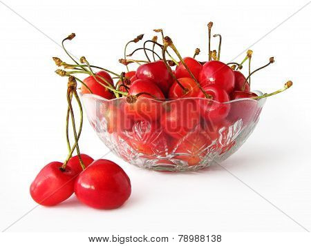 Sweet Cherries In Glass Bowl