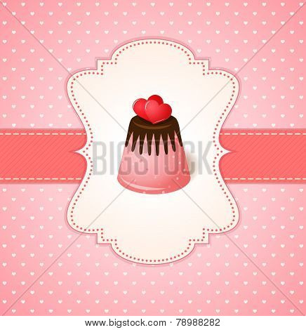 Vintage Vector Invitation Card With Two Hearts On Chocolate Jelly Cake