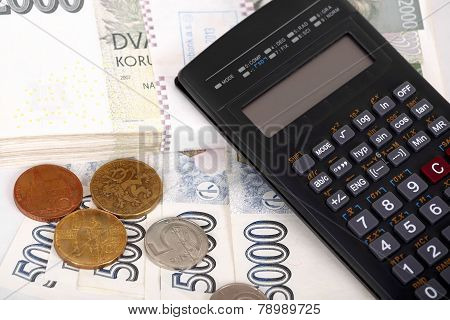 Czech Money Banknotes, Coins And Calculator