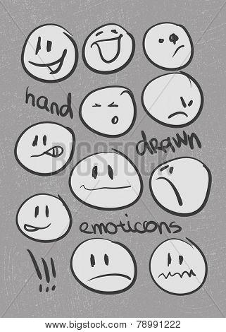 Set of  hand-drawn emoticons . Vector illustration
