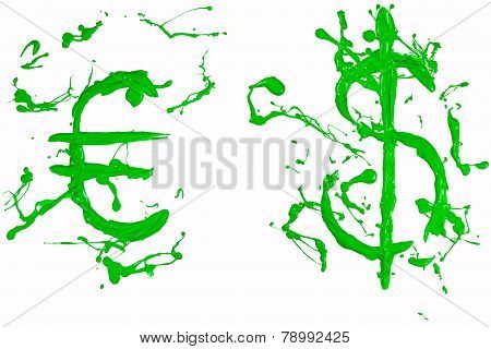 Dollar And Euro Signs Painted Green