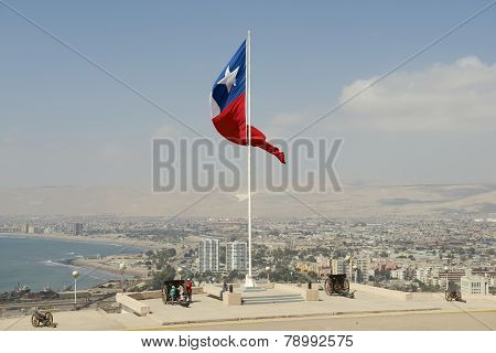 People enjoy the view to Arica city, Arica, Chile.