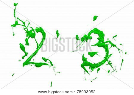 Two And Three Painted Green