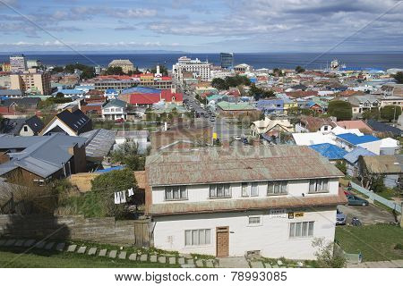 View of Punta Arenas and Magellan strait, Punta Arenas, Chile.