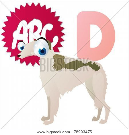 D is for vector cute cartoon isolated Dog